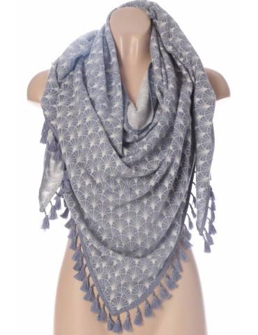 Zwillingsherz Dreieckstuch Schal Amelia mit Kaschmir jeansblau creme Pusteblume Tasseln Trotteln