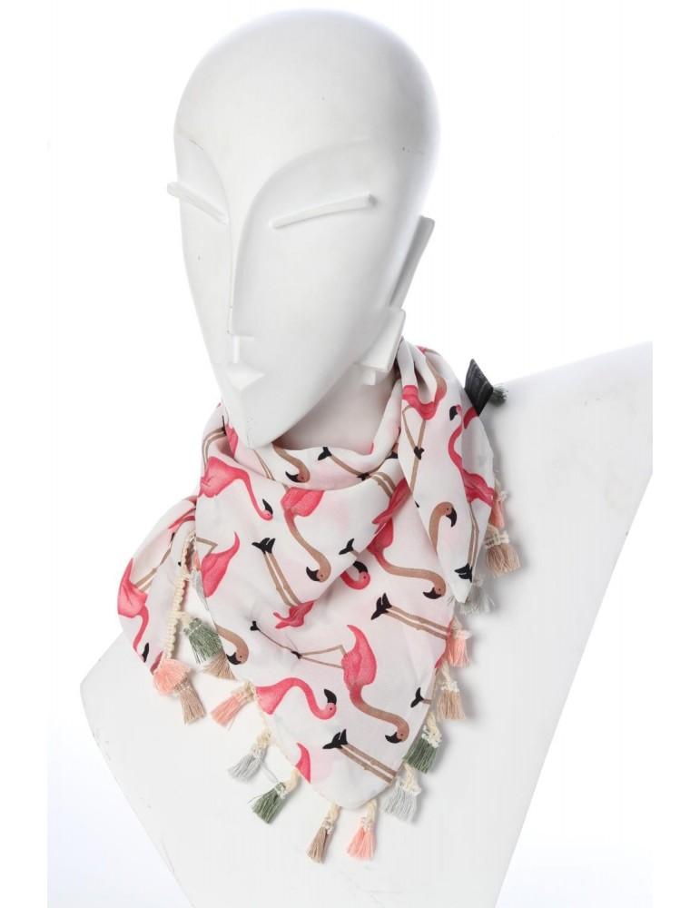 Kinder Kids Junior Wende Dreieckstuch Viskose weiß pink rose bunt Flamingos Tasseln