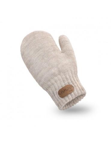 PaMaMi Kinder Fäustlinge Handschuhe beige uni 17221