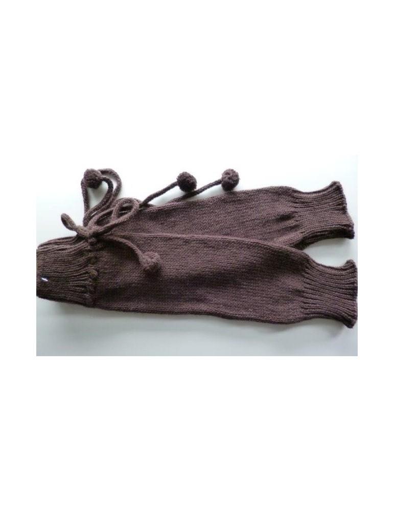 Stiefel Stulpen dunkelbraun braun mit Wolle Bommel Trend