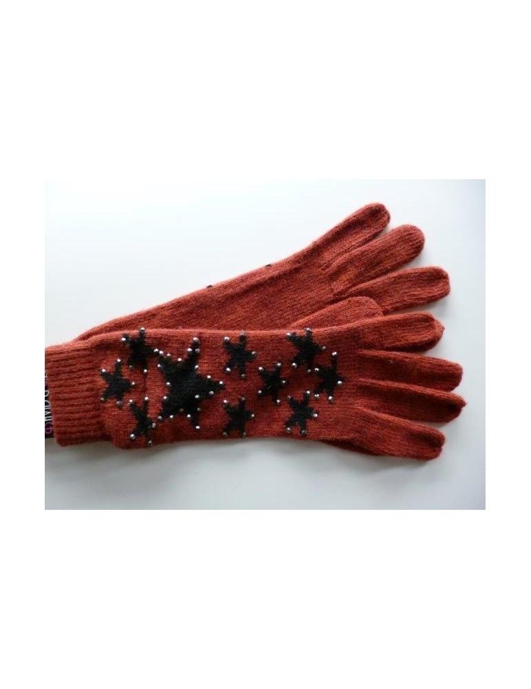 Handschuhe Fingerhandschuhe rost rot creme Sterne Strass Steine mit Wolle