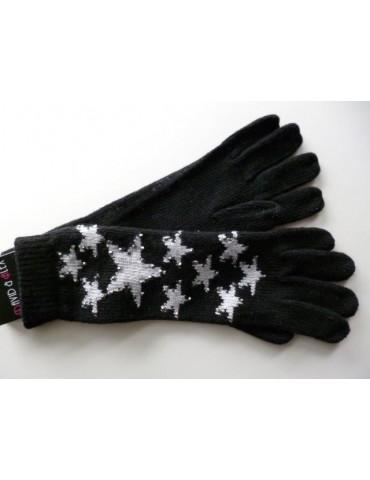Handschuhe Fingerhandschuhe schwarz creme Sterne Strass Steine mit Wolle