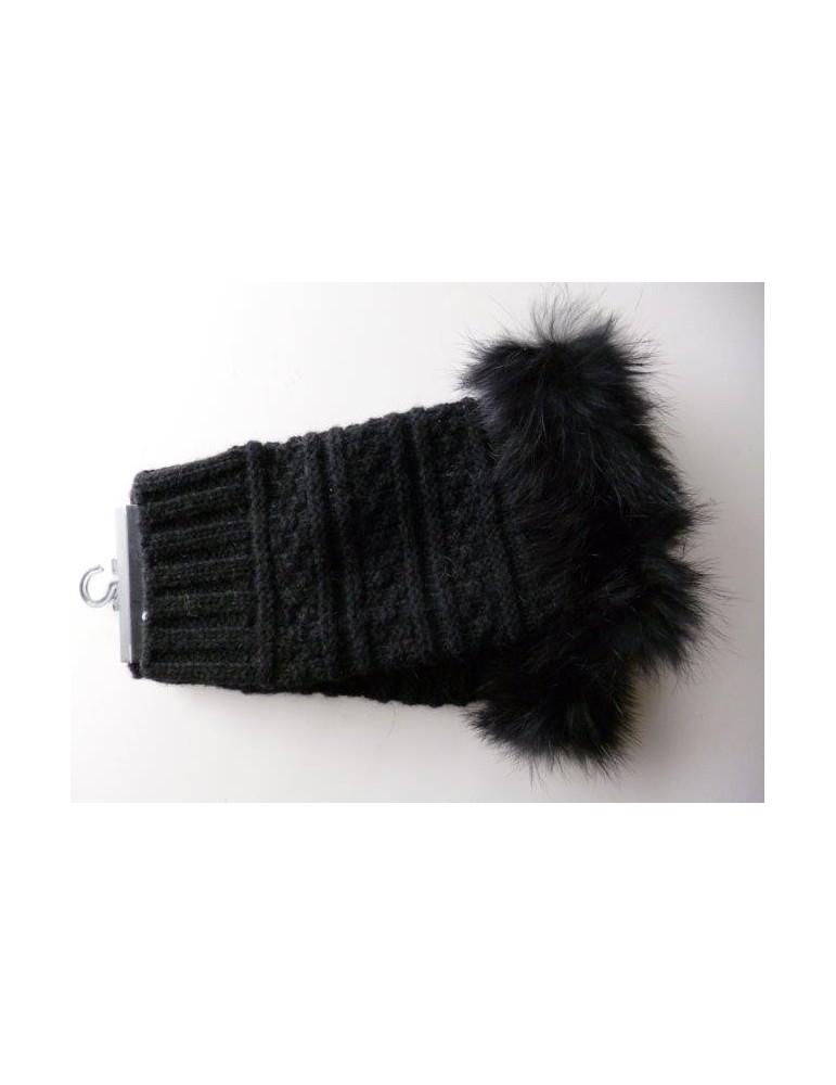 NEU Fingerlose Handschuhe schwarz mit Echt Fell Besatz und Wolle