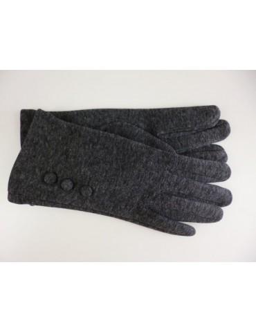 Fingerhandschuhe Handschuhe anthrazit grau Knöpfe Baumwolle Viskose