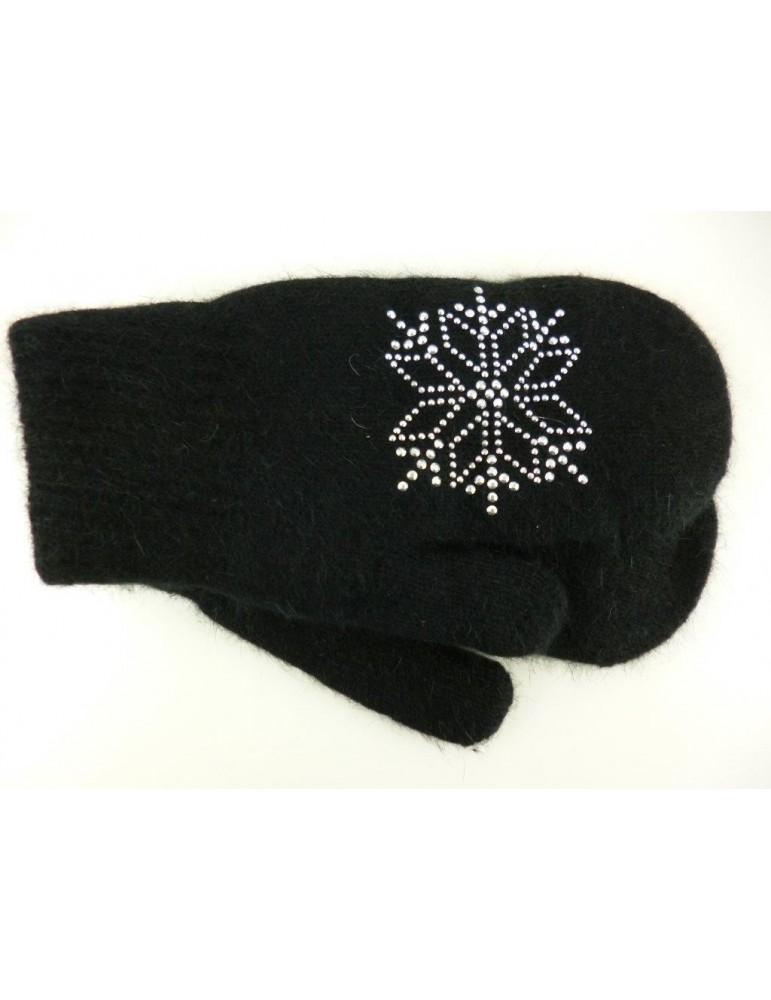 Fäustlinge Handschuhe schwarz black Schneeflocke mit Angora Winter angerauht