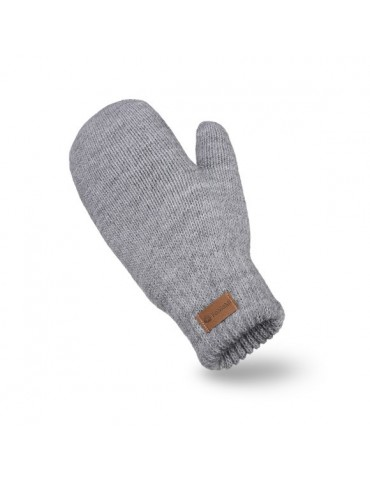 PaMaMi Damen Fäustlinge Handschuhe hellgrau grau 17222