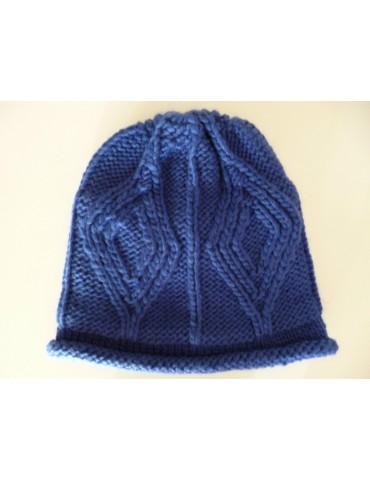 A-Zone Damen Woman Strick Mütze royal blau mit Wolle Fleece gefüttert