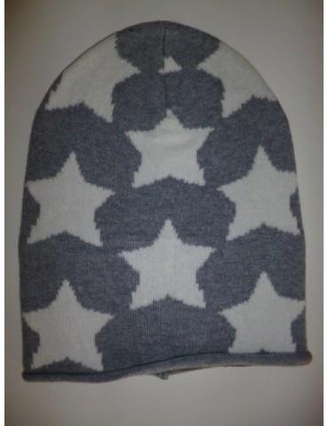 Zwillingsherz Mütze grau creme Sterne mit Kaschmir und Fleece