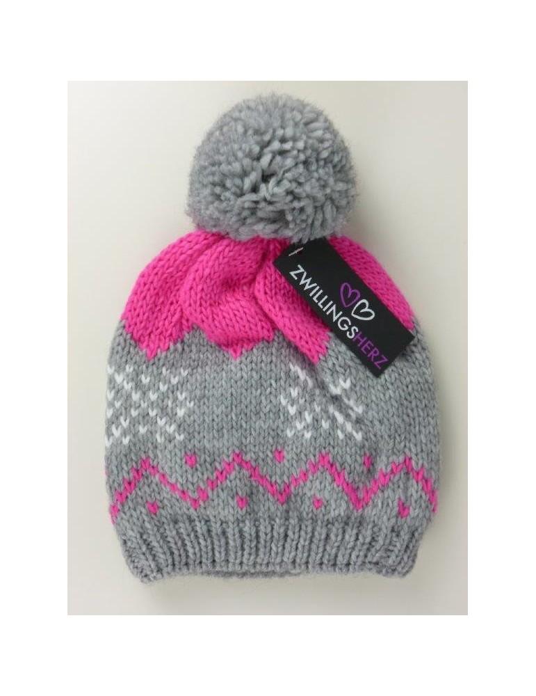 Zwillingsherz Bommel Beanie Mütze hellgrau pink Muster mit Wolle und Fleece