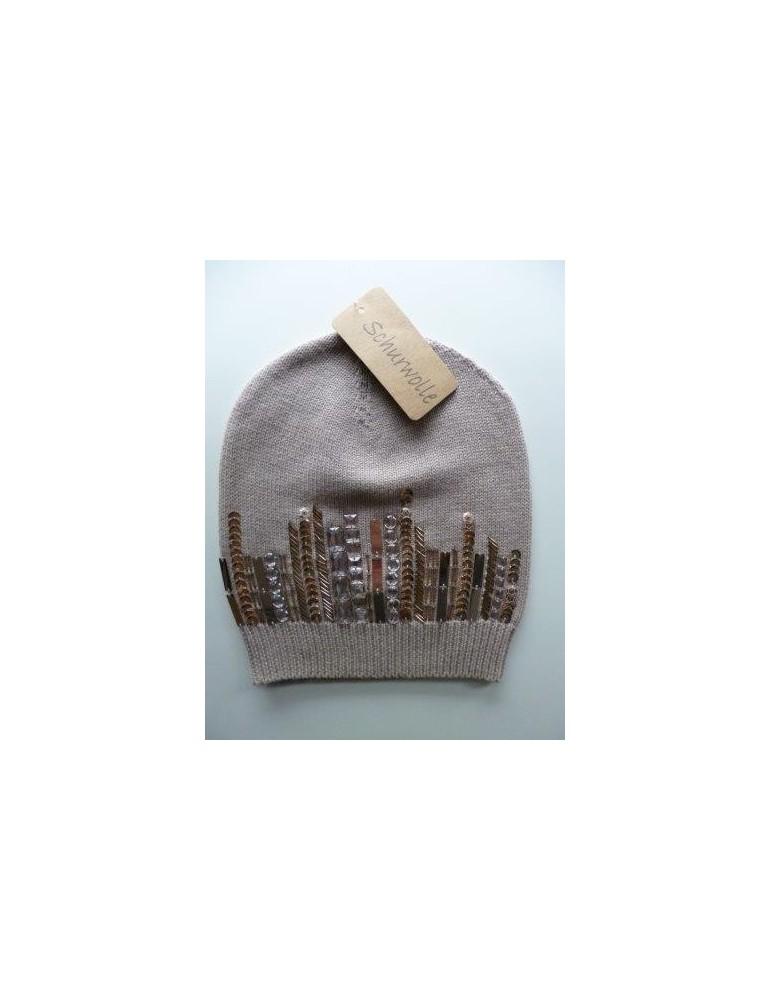 Damen Mütze Beanie beige Perlen Strass Steine Besatz als Skyline mit Wolle und Baumwolle