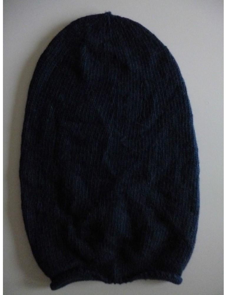 Unisex Mütze Beanie dunkelblau ohne Stern uni Made in Italy mit Kaschmir