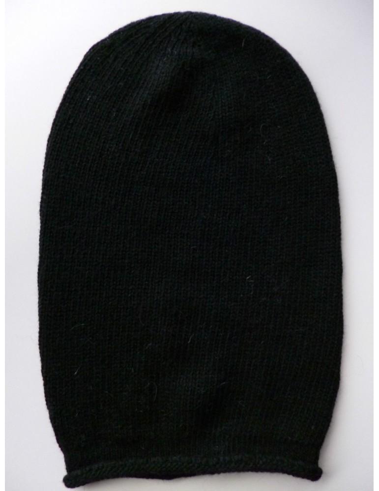 Unisex Mütze Beanie schwarz ohne Stern uni Made in Italy mit Kaschmir