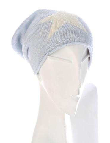 Zwillingsherz Beanie Mütze hellblau creme Stern mit Fleece und Kaschmir