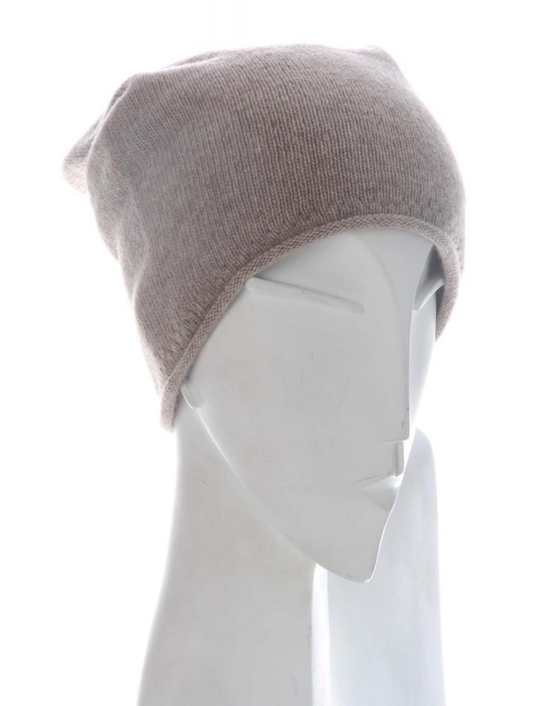 Zwillingsherz Mütze Beanie Classic sand beige uni mit 25% Kaschmir