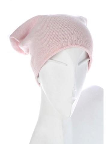 Zwillingsherz Classic Beanie Mütze rose rosa uni mit Fleece und Kaschmir