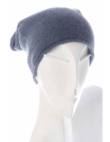 Zwillingsherz Mütze Beanie jeansblau uni ohne Stern mit Fleece u Kaschmir