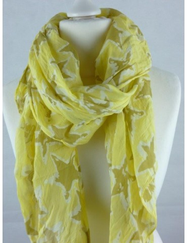 Schal Tuch Loop Made in Italy Seide Baumwolle gelb weiß taupe Sterne