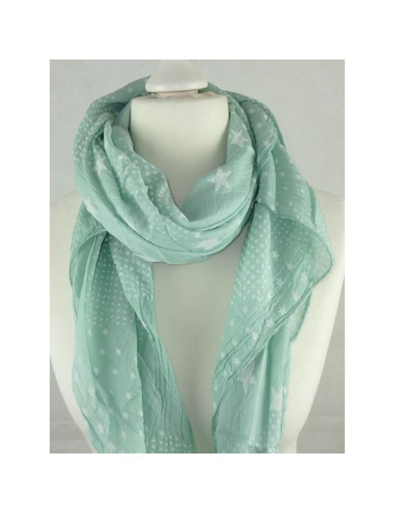 Schal Tuch Loop Made in Italy Seide Baumwolle mint weiß Sterne