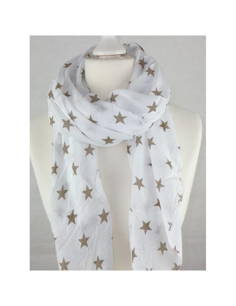 Schal Tuch Loop Made in Italy Seide Baumwolle weiß taupe Sterne