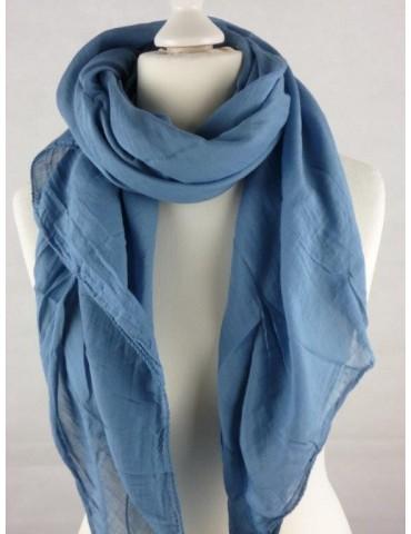 Schal Tuch Loop Made in Italy Seide Baumwolle jeansblau blau uni