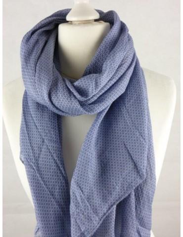 Schal Tuch Loop Made in Italy Seide Baumwolle jeansblau blau Kreuze