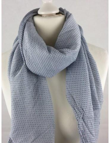 Schal Tuch Loop Made in Italy Seide Baumwolle weiß dunkelblau Kreuze