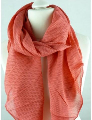 Schal Tuch Loop Made in Italy Seide Baumwolle orangerot rot Kreuze