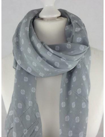 Schal Tuch Loop Made in Italy Seide Baumwolle hellgrau weiß Muster