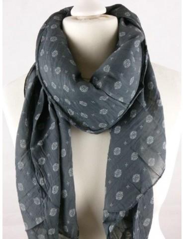 Schal Tuch Loop Made in Italy Seide Baumwolle anthrazit grau weiß Muster