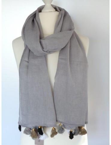 Schal Tuch grau schwarz weiß gold Trotteln Tasseln Passigatti 171- 14118 24 Baumwolle