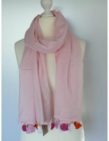 Schal Tuch rose pink weiß orange Trotteln Tasseln Passigatti 171- 14118 44 Baumwolle