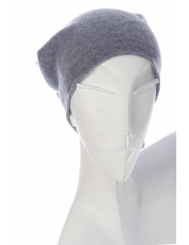 Zwillingsherz Mütze Beanie Classic grau uni ohne Stern mit Fleece u Kaschmir