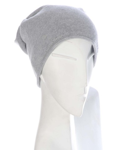 Zwillingsherz Mütze Beanie Classic hellgrau grau uni ohne Stern mit Fleece u Kaschmir