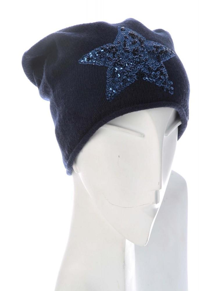 Zwillingsherz Kurt Kölln Mütze Beanie dunkelblau blau Pailetten Stern mit Kaschmir und Fleece