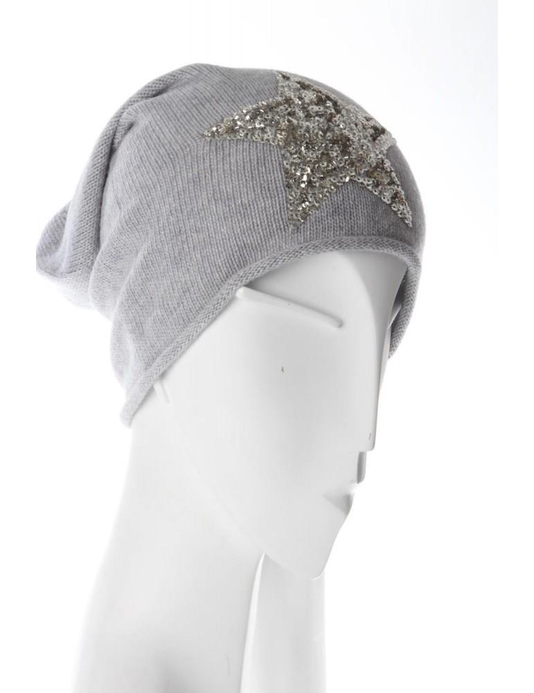 Zwillingsherz Mütze Beanie hellgrau silber Pailletten Stern mit Kaschmir und Fleece
