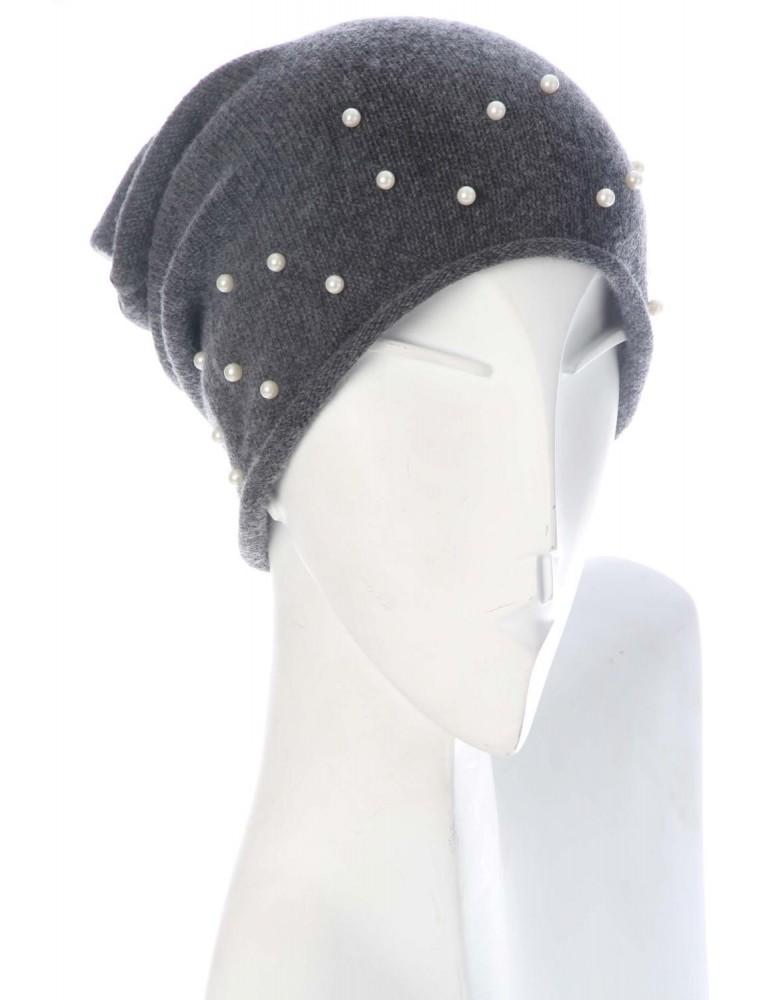 Zwillingsherz Mütze Beanie Perlenrausch anthrazit grau uni mit Perlen und Kaschmir