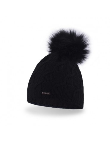 PaMaMi Damen Strick Mütze Beanie schwarz black Fell Bommel 17539 Fleece