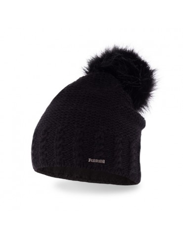 PaMaMi Damen Strick Mütze Beanie schwarz black Fell Bommel 14503 Fleece