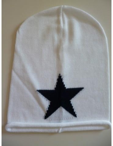Zwillingsherz Damen Mütze Beanie weiß schwarz Stern mit Baumwolle