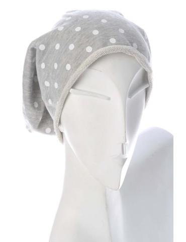 Damen Mütze Beanie hellgrau weiß Punkte Jersey mit Baumwolle und Viskose