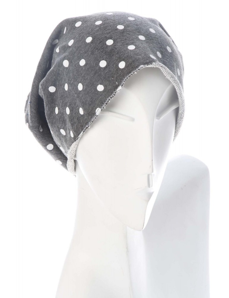 Damen Mütze Beanie anthrazit weiß Punkte Jersey mit Baumwolle und Viskose