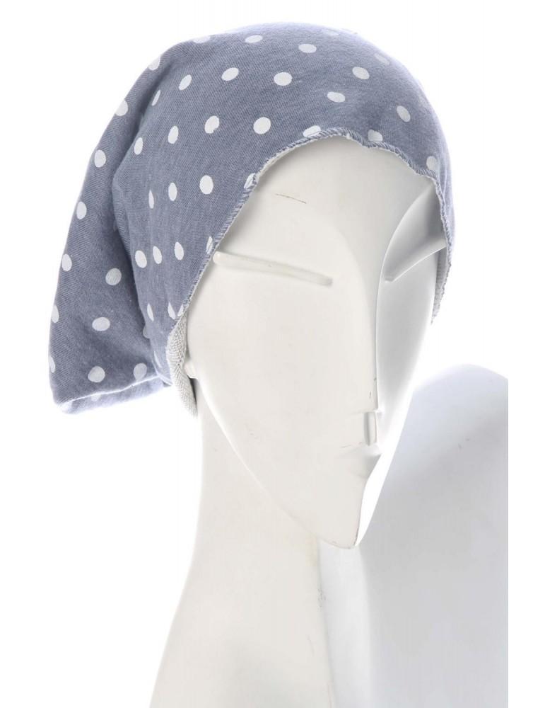 Mütze Beanie jeansblau blau weiß Punkte Damen Jersey mit Baumwolle und Viskose