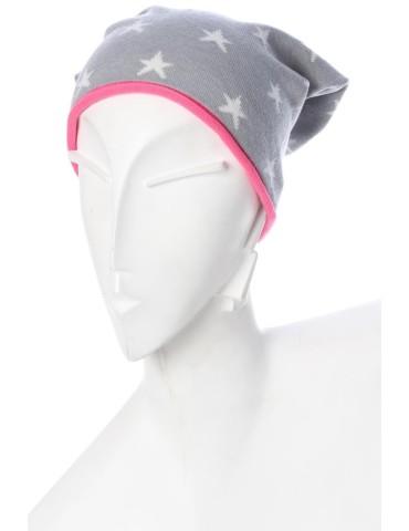 Zwillingsherz Mütze Beanie hellgrau weiß pink Sterne mit Baumwolle