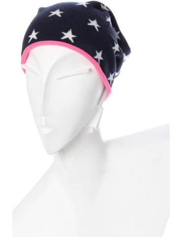 Zwillingsherz Mütze Beanie dunkelblau weiß pink Sterne Maritim mit Baumwolle