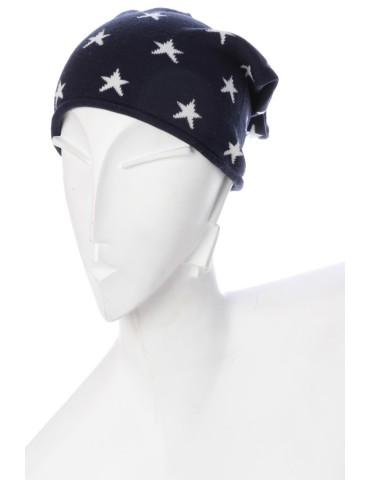 Zwillingsherz Mütze Beanie dunkelblau weiß Sterne Maritim mit Baumwolle
