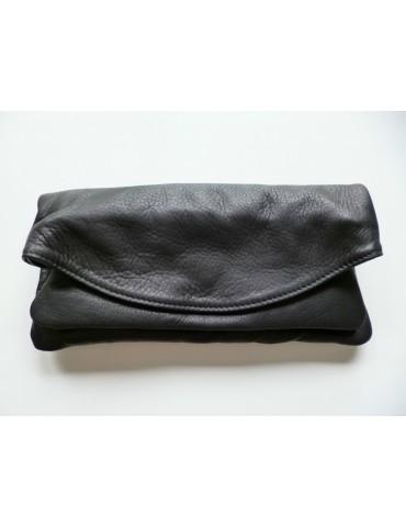 Tasche Clutch Bag Schultertasche Echtes Leder schwarz black Made in Italy
