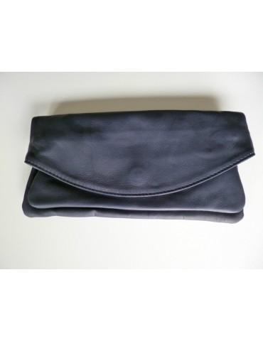 Tasche Clutch Bag Schultertasche Echtes Leder dunkelblau marine Made in Italy