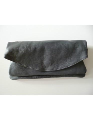 Tasche Clutch Bag Schultertasche Echtes Leder grau grey Made in Italy