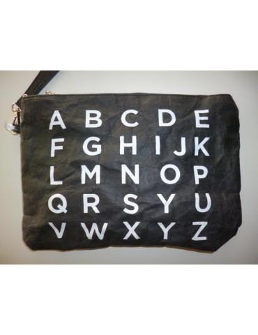 Kosmetiktasche Clutch Geld Tasche Bag in Bag Papier schwarz weiß ABC