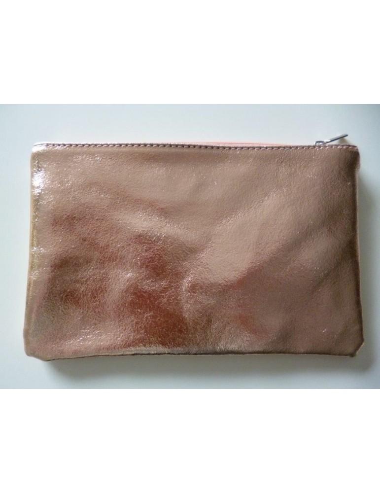 Kosmetiktasche Portemonnaie Geld Tasche Bag in Bag kupfer metallic Echtes Leder